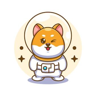 Ilustração em desenho animado de astronauta cão shiba inu fofo