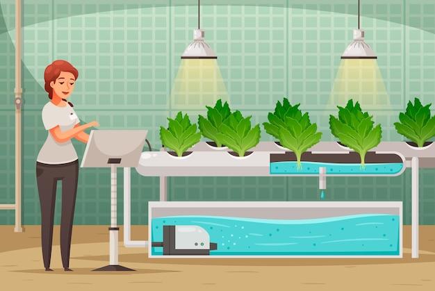 Ilustração em desenho animado de cultivo em estufas com símbolos hidropônicos e aeropônicos