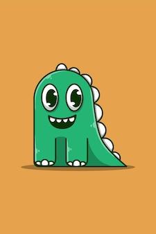 Ilustração em desenho animado de dinossauros fofos