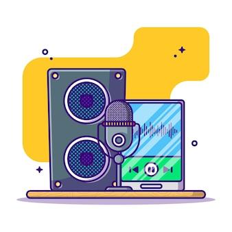 Ilustração em desenho animado de equipamento de podcast