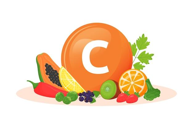 Ilustração em desenho animado de fontes alimentares de vitamina c