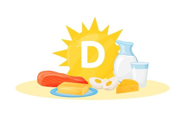 Ilustração em desenho animado de fontes alimentares de vitamina d