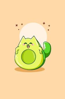 Ilustração em desenho animado de gato abacate fofo