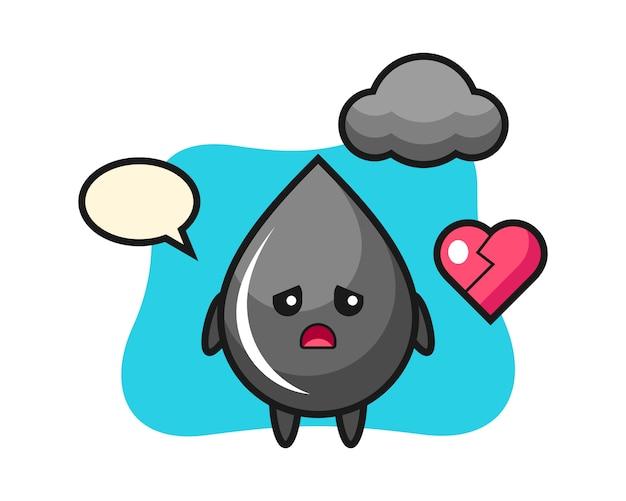 Ilustração em desenho animado de gota de óleo com coração partido
