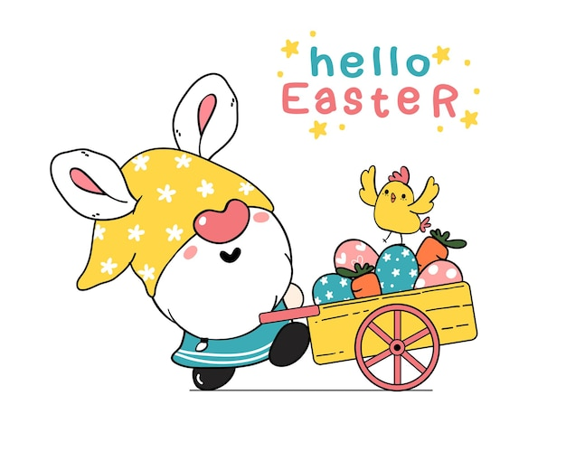 Ilustração em desenho animado de orelhas de coelho de gnomo da páscoa