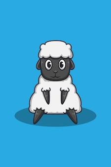 Ilustração em desenho animado de ovelha fofa
