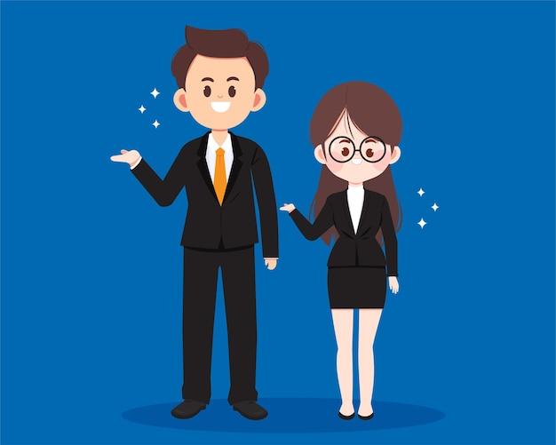 Ilustração em desenho animado de personagem de mulher de negócios e empresário fofo