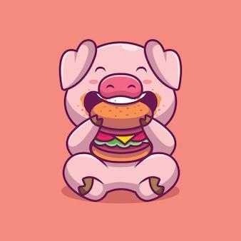 Ilustração em desenho animado de porco fofo comendo hambúrguer