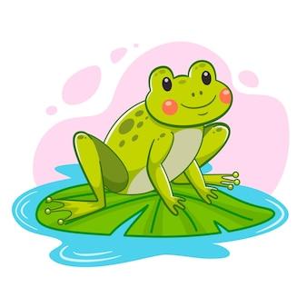 Ilustração em desenho animado de sapo adorável
