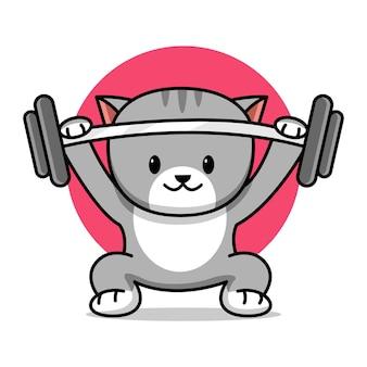 Ilustração em desenho animado de um gato fofo