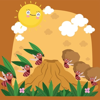Ilustração em desenho animado de uma colônia engraçada de formigas carregando insetos formigueiros