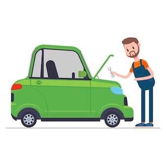 Ilustração em desenho animado do carro de manutenção