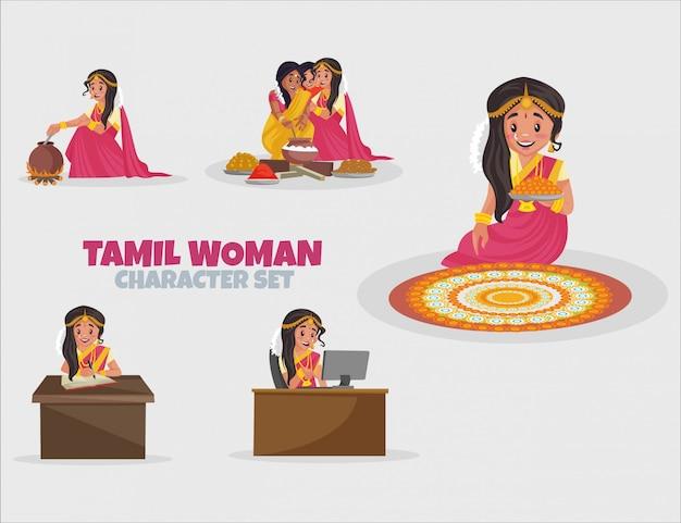 Ilustração em desenho animado do conjunto de caracteres de mulher tamil