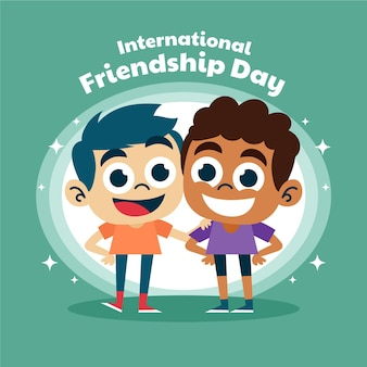 Ilustração em desenho animado do dia internacional da amizade Vetor Premium
