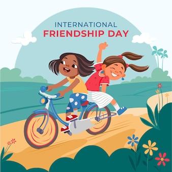 Ilustração em desenho animado do dia internacional da amizade