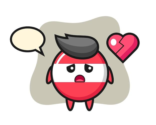 Ilustração em desenho animado do emblema da bandeira da áustria com o coração partido