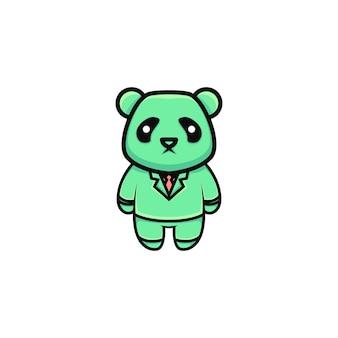 Ilustração em desenho animado do empresário panda fofo
