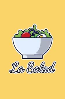 Ilustração em desenho animado do logotipo de uma tigela de salada