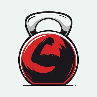 Ilustração em desenho animado do logotipo kettlebell