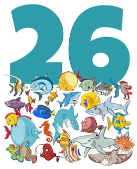 Ilustração em desenho animado do número vinte e seis com o grupo de personagens engraçados da vida marinha