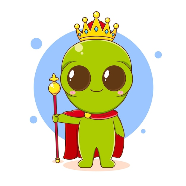 Ilustração em desenho animado do personagem alienígena fofo como um rei com coroa