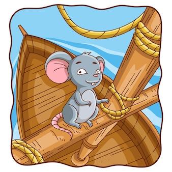 Ilustração em desenho animado: o rato está no barco