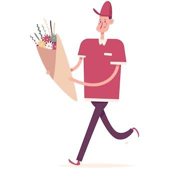 Ilustração em desenho animado para entrega de flores
