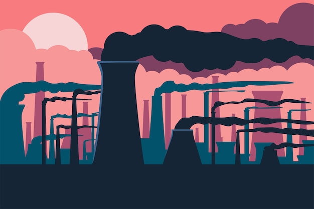 Ilustração em desenho animado sobre poluição do ar