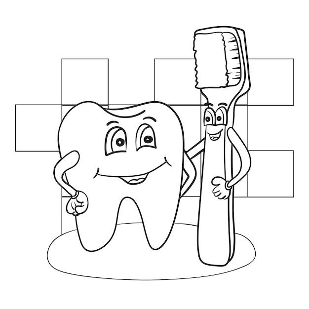 Ilustração em desenho em preto e branco do personagem happy tooth com um livro para colorir com escova de dentes