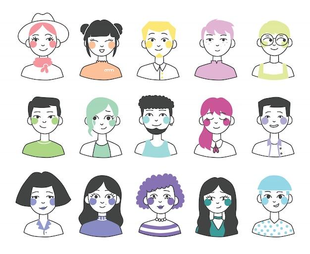 Ilustração em design plano de avatares de pessoas em design apartamento simples