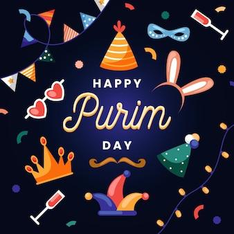 Ilustração em design plano feliz dia de purim