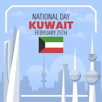 Ilustração em design plano kuwait dia nacional