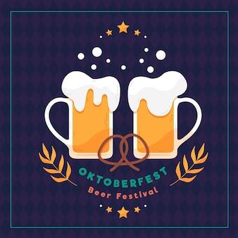 Ilustração em design plano oktoberfest