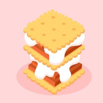 Ilustração em design plano sweet s'more