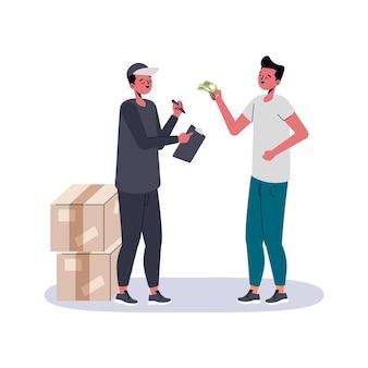 Ilustração em dinheiro na entrega de design plano