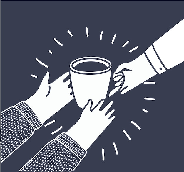 Ilustração em estilo cartoon com pessoas dá a outra uma xícara de café ou chá de mão em mão. ajuda aos necessitados, à humanidade, à caridade e aos setores vulneráveis da sociedade.