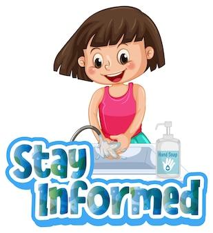 Ilustração em estilo cartoon com uma garota lavando as mãos