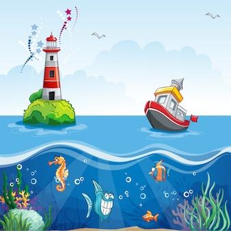 Ilustração em estilo cartoon de um navio no mar e peixes divertidos