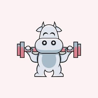 Ilustração em estilo desenho animado de vaca fofa