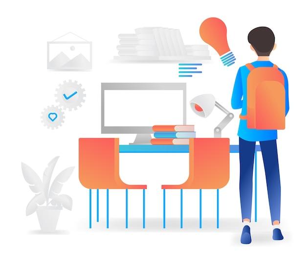 Ilustração em estilo moderno simples de menino começando a estudar em casa com seu novo equipamento
