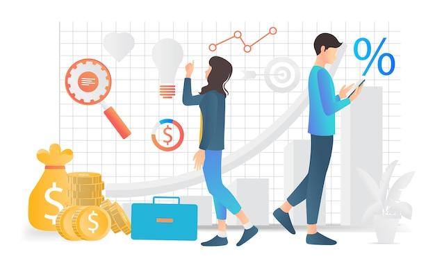 Ilustração em estilo plano moderno de análise de negócios por uma mulher e um homem