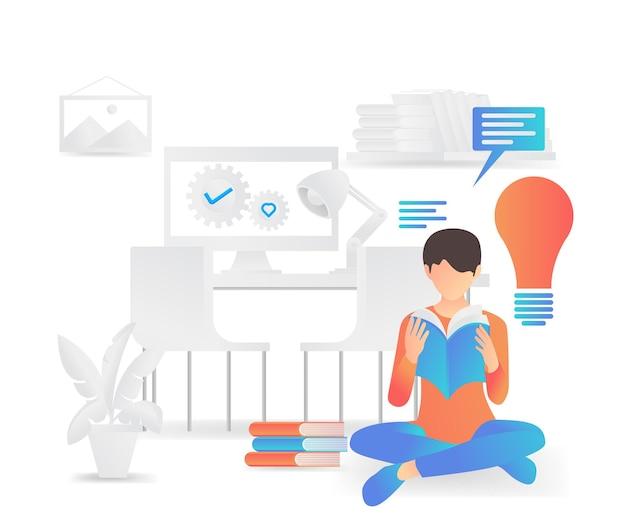 Ilustração em estilo simples de um menino lendo um livro e procurando por ideias lá