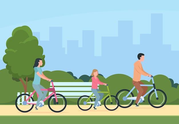Ilustração em família andando de bicicleta
