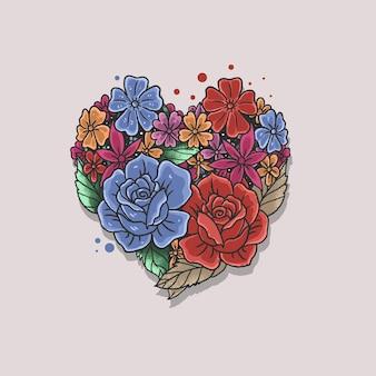 Ilustração em forma de coração rosa floral