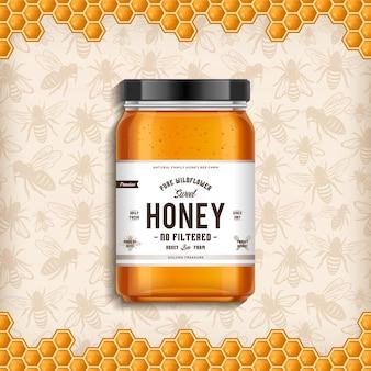 Ilustração em frasco de vidro de mel de flores silvestres com abelhas e fundo de favo de mel