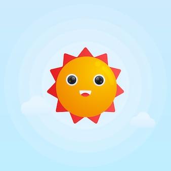 Ilustração em gradiente de sol com sorriso fofo
