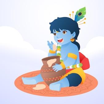 Ilustração em gradiente do bebê krishna comendo manteiga