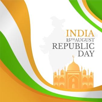 Ilustração em gradiente do dia da independência indiana
