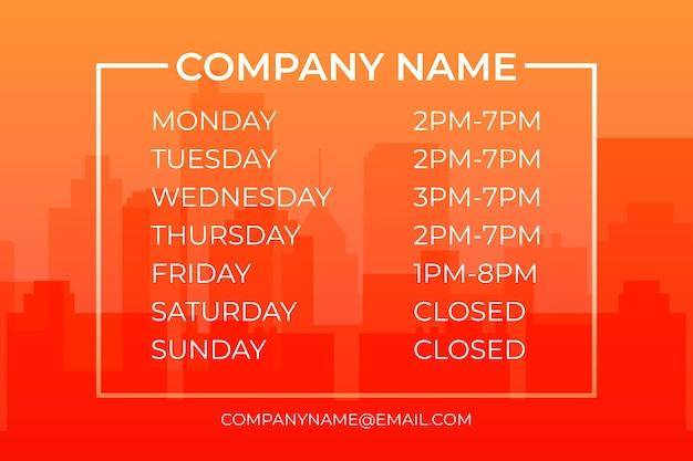 Ilustração em gradiente do horário de funcionamento da empresa