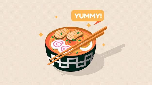 Ilustração em isométrica de tigela de macarrão delicioso